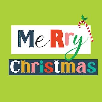 Typografie vrolijk kerstfeest met kleurrijk
