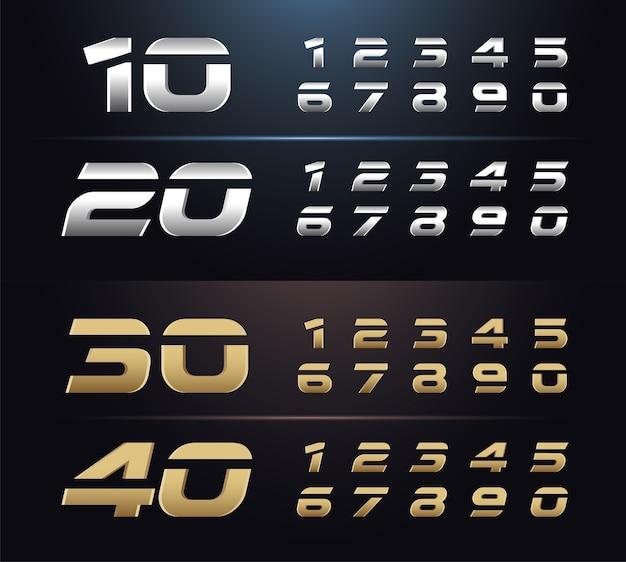 Typografie zilver en goud 1, 2, 3, 4, 5, 6, 7, 8,