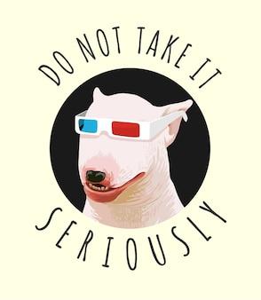 Typografieslogan met grappige hond op 3d glazenillustratie