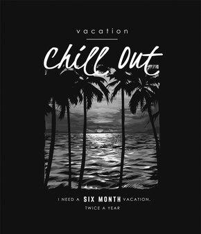 Typografieslogan met palmboomschaduw op zonsondergang en oceaan