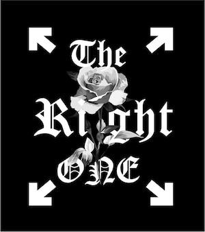 Typografieslogan met rozenb / w illustratie