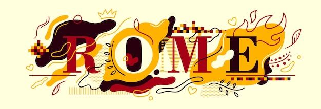 Typografisch ontwerp van de banner van rome