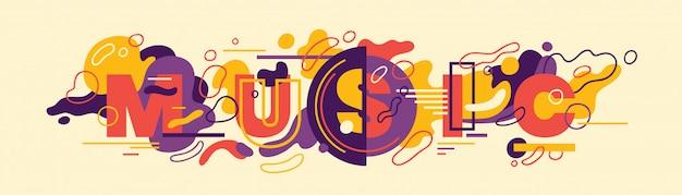 Typografisch ontwerp van de muziekbanner in abstracte stijl.