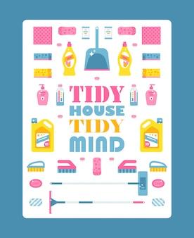 Typografische affiche met geïsoleerde pictogrammen van schoonmakende producten, illustratie. motiverende tekst netjes opgeruimd huis. schoonmaak service brochure voorbladsjabloon