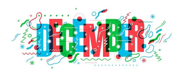 Typografische december banner teken ontwerp
