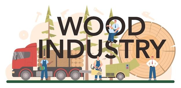 Typografische formulering van de houtindustrie. logboekregistratie en houtbewerkingsproces. bosbouwproductie. wereldwijde classificatiestandaard voor de industrie.