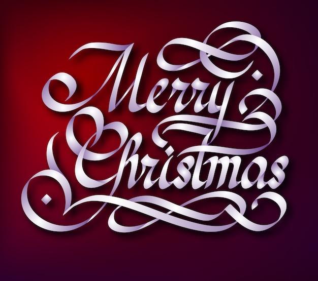 Typografische groet sjabloon met handgeschreven vieren merry christmas inscriptie