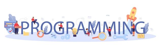 Typografische header programmeren. leerlingen schrijven software en maken code voor de computer. coderingsscript voor project en app. digitale technologie voor website, interface en apparaten. .