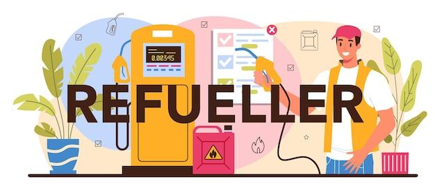 Typografische kop van de tanker. benzinestation werknemer in uniform werken