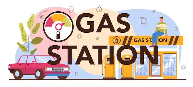Typografische kop van het benzinestation. tanker in uniform aan het werk met een vulpistool