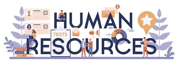 Typografische koptekst concept van menselijke hulpbronnen