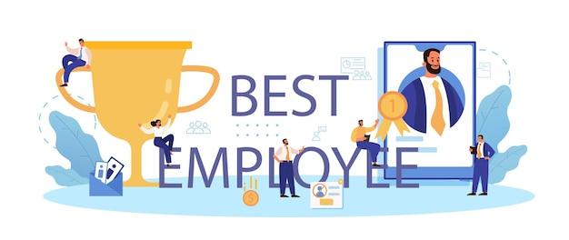 Typografische koptekst van de beste werknemer. zakelijke werving en controle van medewerkers.