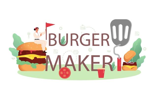 Typografische koptekst van de hamburgermaker.