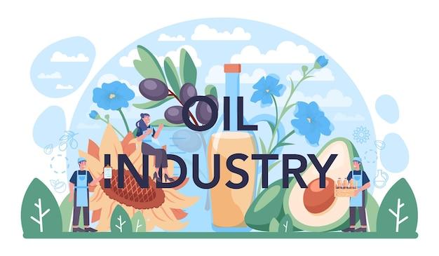 Typografische koptekst van de olie-industrie. extractie of productie van plantaardige olie. biologisch vegetarisch ingrediënt voor koken en niet-eetbare productie. platte vectorillustratie