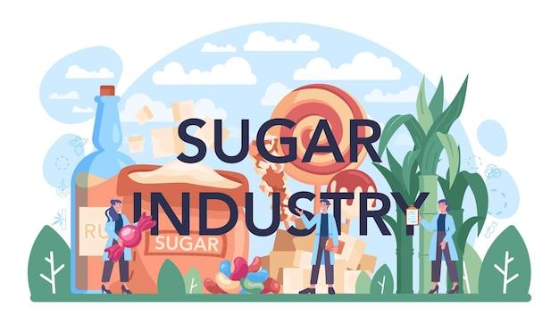 Typografische koptekst van de suikerindustrie. sacharose en fructose gewonnen uit suikerriet en suikerbiet. gewasteelt, oogst en verwerking. platte vectorillustratie
