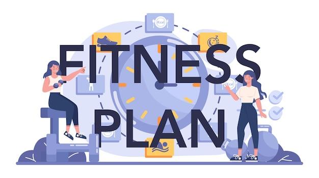 Typografische koptekst van het fitnessplan
