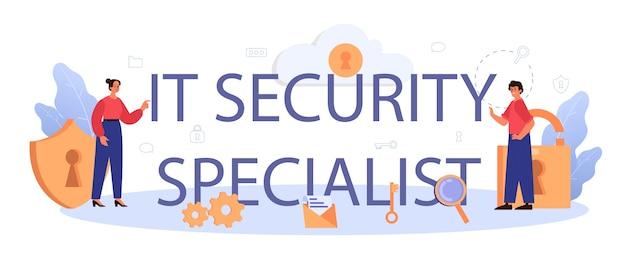 Typografische koptekst van it-beveiligingsspecialist. idee van digitale gegevensbescherming en veiligheid.
