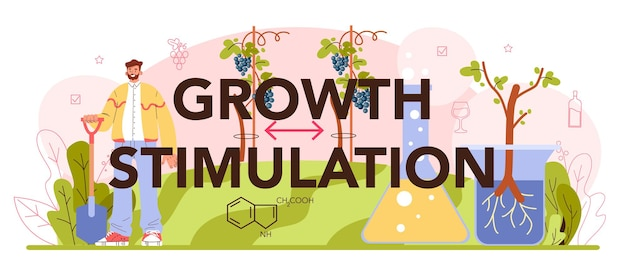 Typografische koptekst voor groeistimulatie. wijn productie. druivenselectie