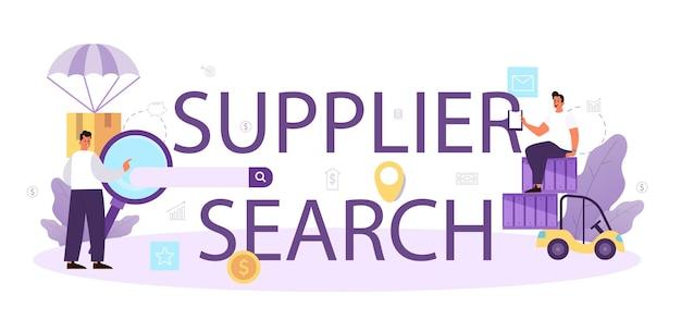 Typografische koptekst voor zoeken naar leveranciers