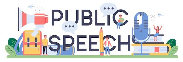 Typografische koptekstillustratie in openbare toespraak