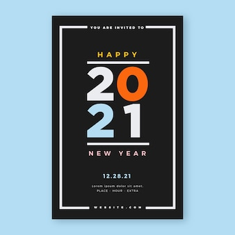 Typografische nieuwe jaar 2021 partij flyer-sjabloon