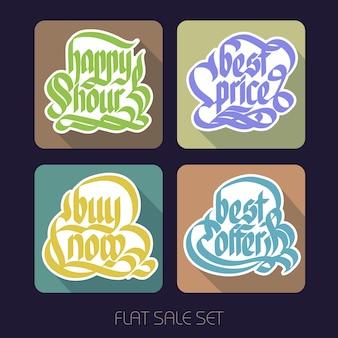 Typografische promotionele inscripties collectie met kalligrafisch papier kleurrijke stickers in vlakke stijl geïsoleerd