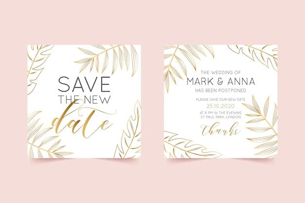 Typografische uitgesteld bruiloft kaartsjabloon