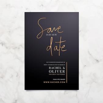 Typografische uitgestelde trouwkaart