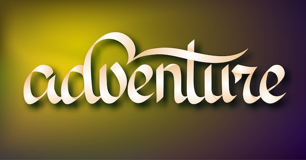 Typografische woordsjabloon met handgeschreven stijlvolle adventure-inscriptie op lichte illustratie