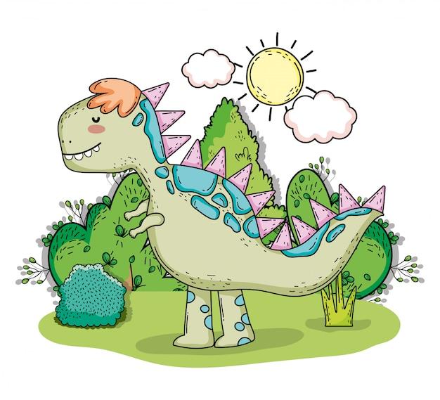 Tyrannosarus voorhistorisch dino dier met zon en wolken