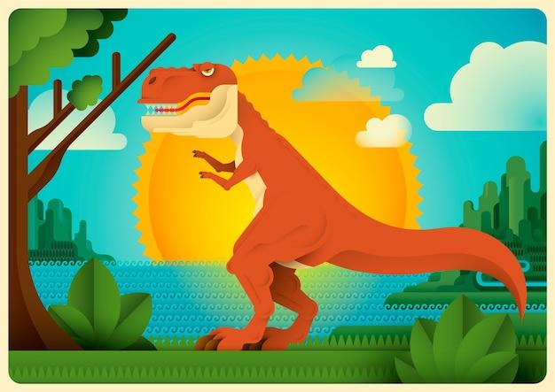 Tyrannosaurus rex in wilde natuur.