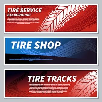 Tyre loopvlak volgt banners. motorfiets, auto en racefiets vuile grunge weg bandafdrukken. betreed auto, motorsportbanner