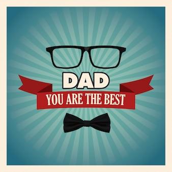 U bent de beste vaderwenskaart met vlinderdas en glazendecoratie