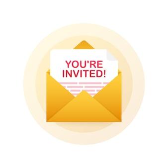 U bent uitgenodigd! badge pictogram. geschreven in een envelop brief.