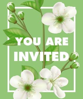 U bent uitgenodigd die met witte bloemen in kader op groene achtergrond van letters voorzien.