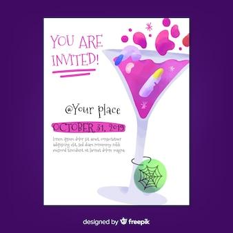 U bent uitgenodigd op de poster van de halloween-cocktailparty