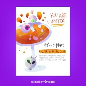 U bent uitgenodigd op flyer voor een halloween-cocktailfeest