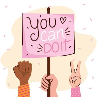 U kunt meisjesbelettering met handen doen en bannerillustratie protesteren