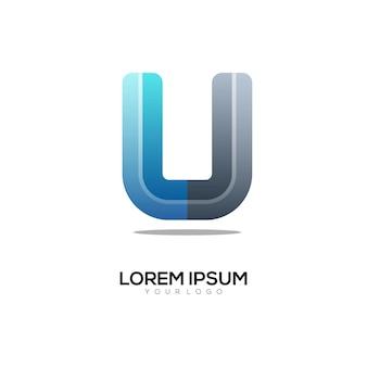 U letter eerste logo geweldig kleurrijk verloop