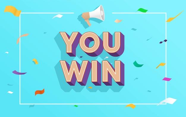 U wint de vectorillustratie van het woordconcept met megafoon en 3d stijl