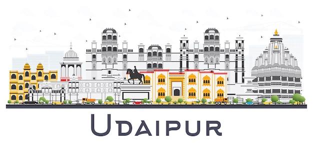 Udaipur india city skyline met kleur gebouwen geïsoleerd op wit