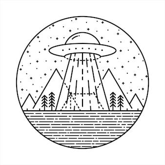 Ufo alien invasion camp hike nature wild line grafische illustratie art t-shirt design
