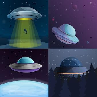 Ufo-banner set, cartoon stijl