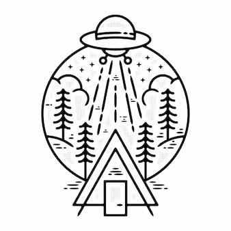 Ufo camping buiten minimalistische vintage logo badge sjabloon monoline illustratie premium vector