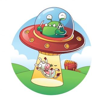 Ufo die een koe ontvoert