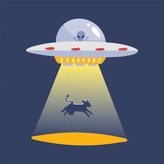 Ufo die een koesilhouet ontvoert. alien ruimteschip, futuristische onbekende vliegende object cartoon sticker geïsoleerd. vlakke afbeelding