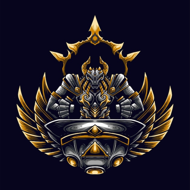 Ufo dragon mascot-logo voor esport