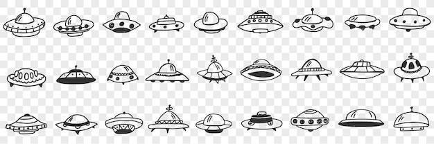 Ufo en vliegende platen in kosmos doodle set. verzameling van hand getrokken verschillende vormen en vormen van ufo vliegen in de ruimte geïsoleerd op transparante achtergrond