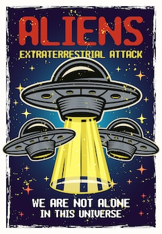 Ufo gekleurde poster met texturen en tekst aliens buitenaardse aanval. vector illustratie