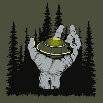 Ufo landde bij de hand illustratie